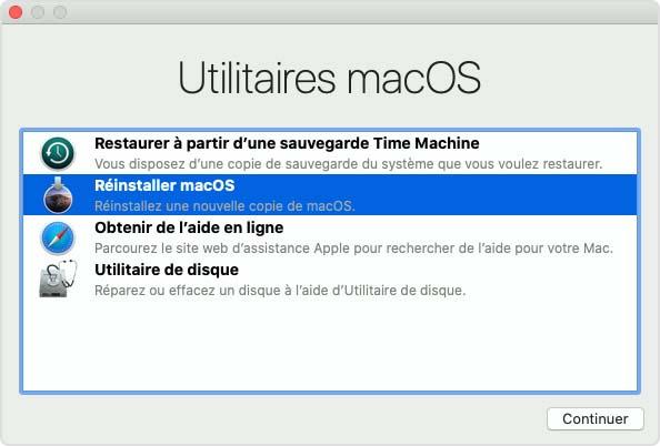 Fenêtre Utilitaires macOS