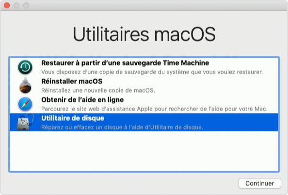 La fenêtre Utilitaires de la fonctionnalité de récupération de macOS