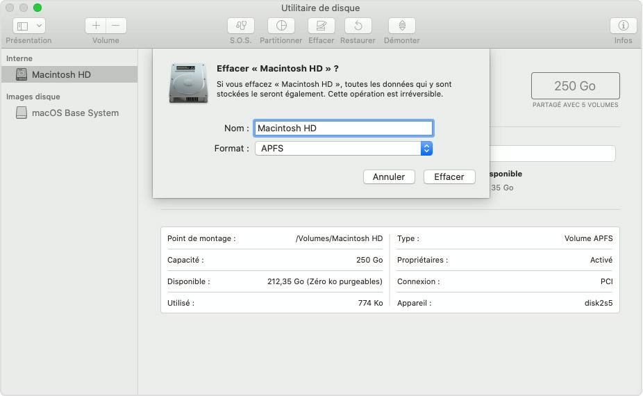 Effacement de Macintosh HD dans Utilitaire de disque